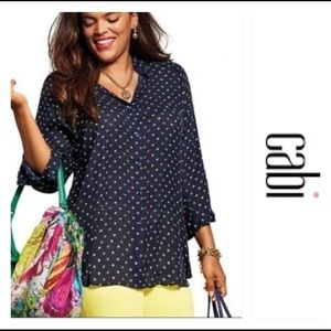 CAbi  5019 Martini Sheer Button Up Navy Blue Top